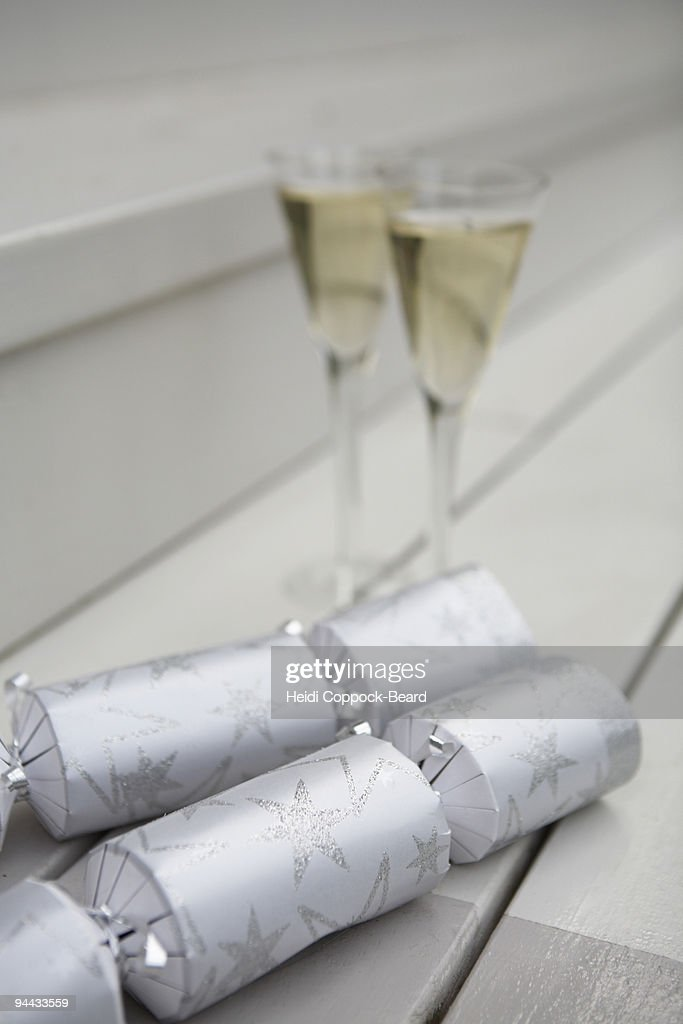 glasses of champagne and  crackers : Stock Photo