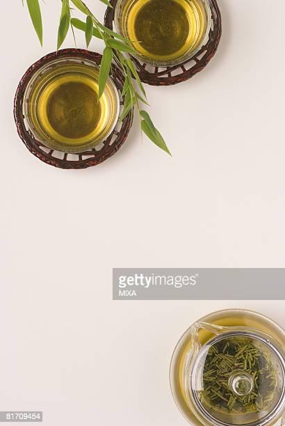 Glasses of cold green tea
