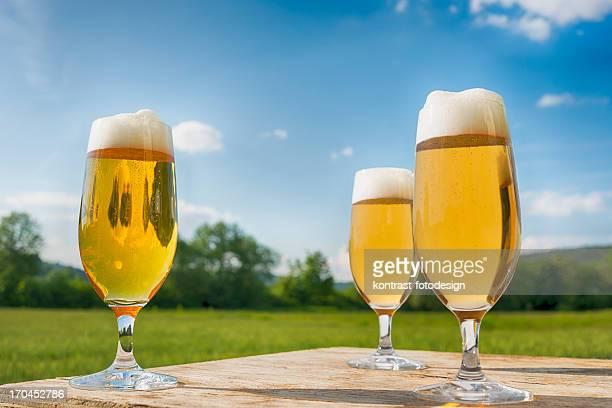 メガネの新鮮なビール、ピルスナー Biergarden Pils