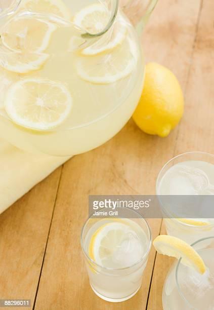 Glasses of fresh lemonade