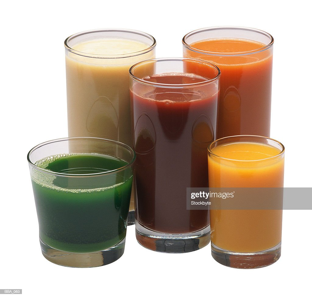 Glasses of fruit and vegetable juice : Stock Photo