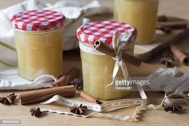 Glasses of homemade apple pear jam