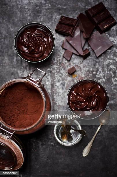 Glasses of homemade vegan Mousse au Chocolat