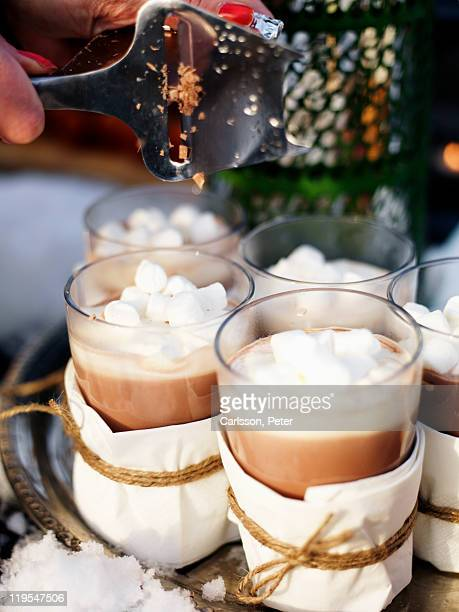 Glasses of hot chocolate, close-up