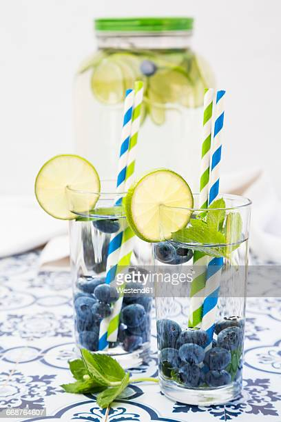 Glasses of infused water with lime, blueberries and mint