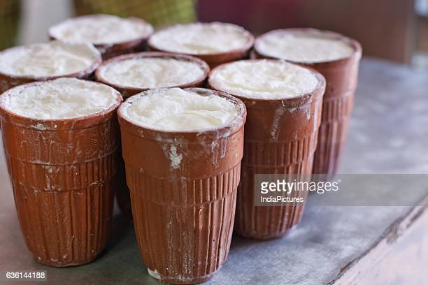 Glasses Of Lassi Arranged At Market Stall