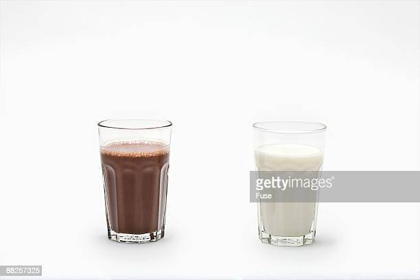 Glasses of Milk and Chocolate Milk