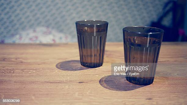Glasses Of Mineral Water On Table