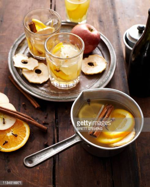glasses of mulled cider - cider stock pictures, royalty-free photos & images