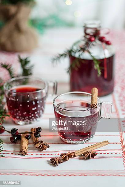 Glasses of mulled wine and spices