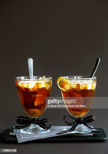 glasses of mulled wine with spices - klein stock pictures, royalty-free photos & images