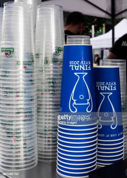 Glasses of PepsiCola and Heineken are decorated with logos of the competition On Saturday May 26 Kiev will host the finals of the largest and most...
