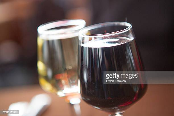 Glasses of red and white wines in a Paris bistrot