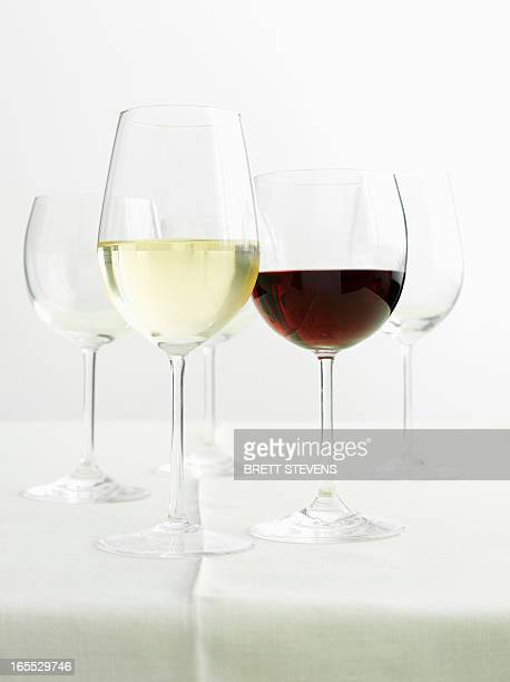 Glasses of red and white wines