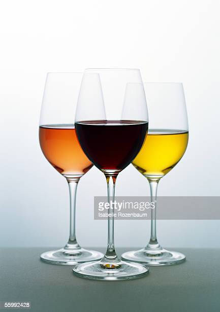 Glasses of white, rosé and red wines