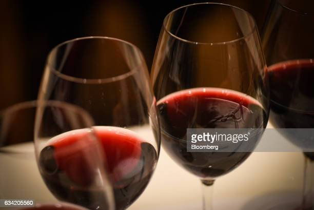 Glasses of wine sit on a table at the 4th Sakura Japan Women's Wine Awards 2017 the international wine competition judged by female wine...