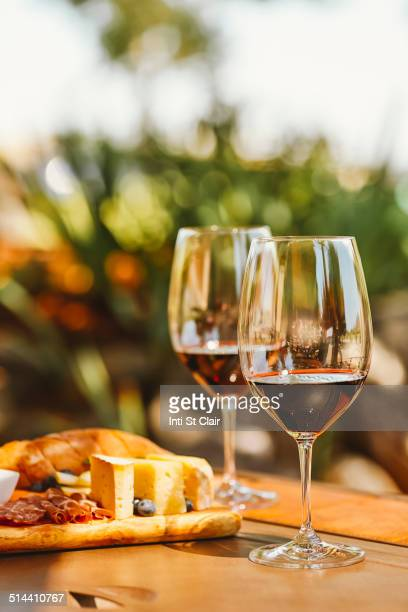 Glasses of wine with cheese and meat board