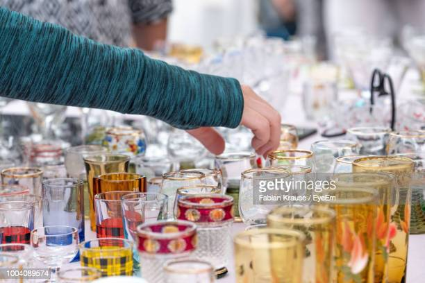 glasses on retail display at flea market - flea market stock pictures, royalty-free photos & images