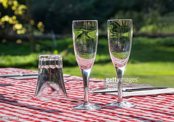 Glasses on the table in a  countryside restaurant