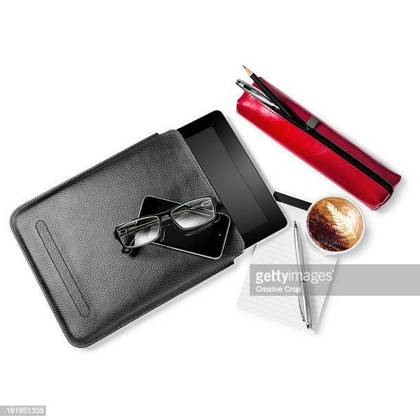glasses, smartphone, tablet computer, cappuccino - pencil case stock photos and pictures