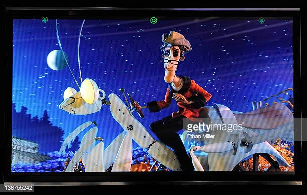 A glassesfree Toshiba 55inch 3D 4x full HD TV shows the movie 'Coraline' at the 2012 International Consumer Electronics Show at the Las Vegas...