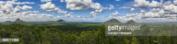 glasshouse mountain panorama - glass house mountains stock pictures, royalty-free photos & images