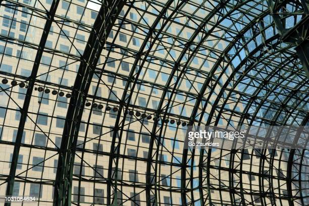 Glass-vaulted ceiling of the Winter Garden Atrium in the Brookfield Office Complex, in Lower Manhattan.