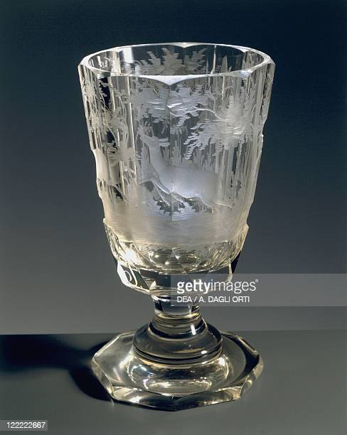 Glassware Bohemia 19th century Goblet Engraved white crystal glass Hunting scene design 1860