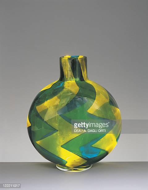 Glassware Italy 20th century Vase Marquetry series Turquoise and yellow Barovier Toso 1961
