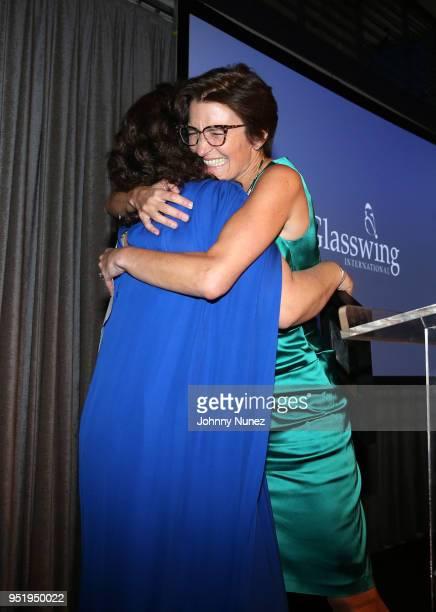 Glasswing International coFounder Celina de Sola and Jane Fraser attend the 2018 Glasswing International Gala at Tribeca Rooftop on April 26 2018 in...