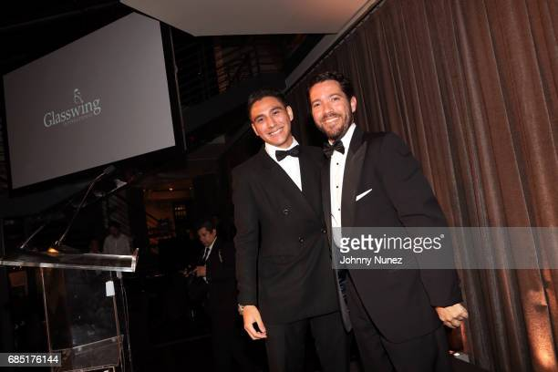 Glasswing student speaker Juan Diego and coFounder of Glasswing Diego de Sola appear onstage at the Glasswing International 10th Anniversary Gala at...
