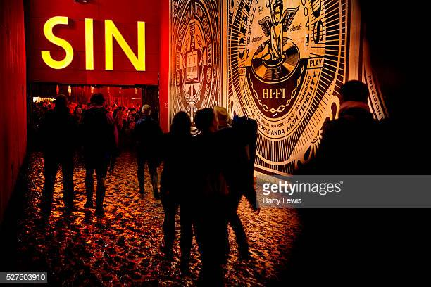 Glastonbury Festival 2014. OBEY artist decorates the path to hell... Shangri-La is the after-hours epicentre of Glastonbury Festival, a largely...