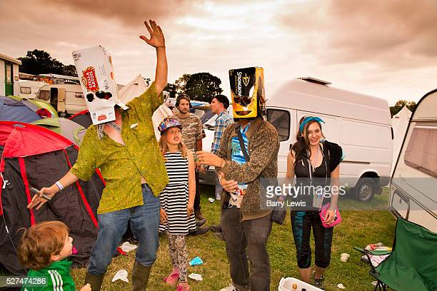 Glastonbury Festival 2015 All dressed up dancing in the camping grounds before setting off for the big night out The boxes for the beer cider...