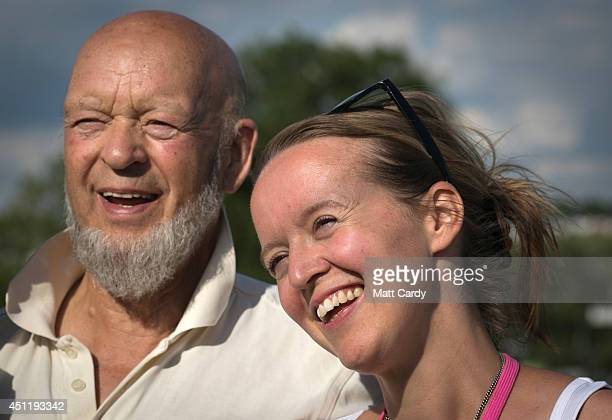 Glastonbury Festival founder Michael Eavis and his daughter Emily attend a photocall at Worthy Farm in Pilton on the eve of the first day of the 2014...