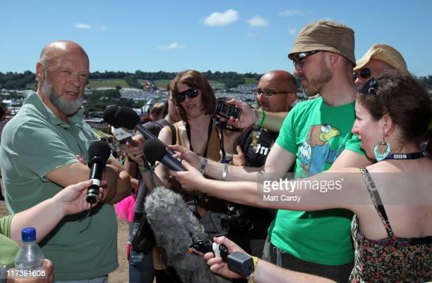 Glastonbury Festival organiser Michael Eavis arrives to speak to the media at the Glastonbury Festival site at Worthy Farm Pilton on June 26 2011...