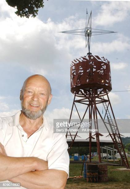 Glastonbury Festival owner Michael Eavis in front of a giant steel tower that has been erected as an icon of the union and labour movement in an area...