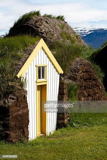 glaumbaer a skagafjordur antica facciata, islanda - fotofojanini foto e immagini stock