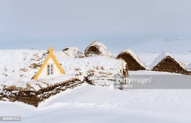 Glaumbaer open air museum during winter historic and traditional houses with sod roofs Europe northern Europe iceland March