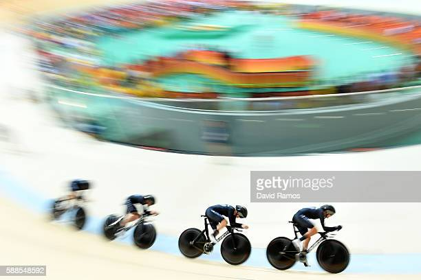 GLauren Ellis Racquel Sheath Rushlee Buchanan and Jaime Nielsen of New Zealand compete in the Women's Team Pursuit Track Cycling Qualifying on Day 6...