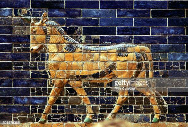 Glazed Brick relief of a bull on the walls of the Sacred Way leading to the Ishtar Gate Babylon c580 BC