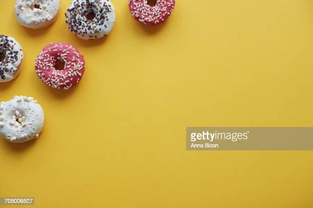 Glazed donuts with sweet sprinkles. Debica, Poland