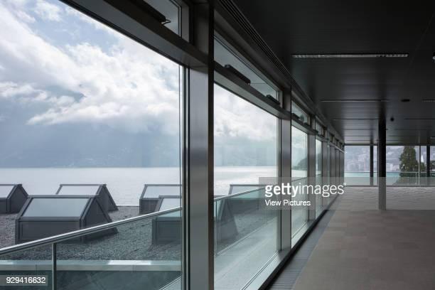 Glazed foyer on upper floor with lake view LAC Lugano Art Centre Lugano Switzerland Architect Ivano Gianola Studio d'architettura 2015
