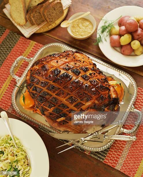 glazed ham dinner - glazed ham stock pictures, royalty-free photos & images