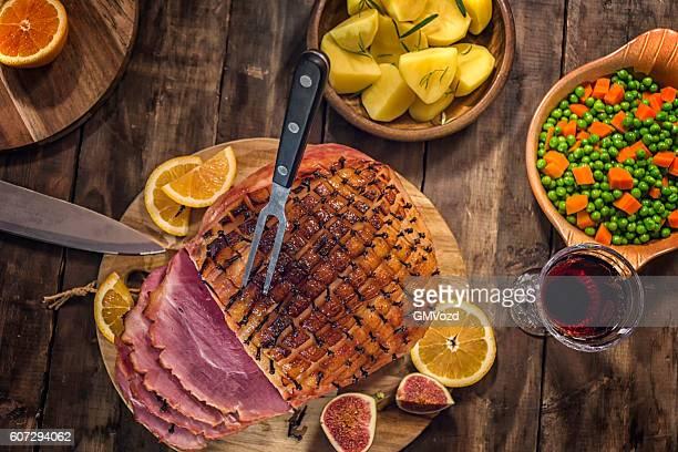 Glazed Holiday Ham with Cloves Background