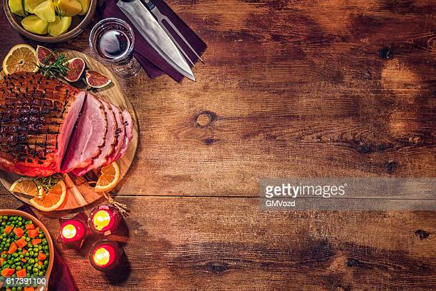 Glazed Holiday Ham with Cloves Background