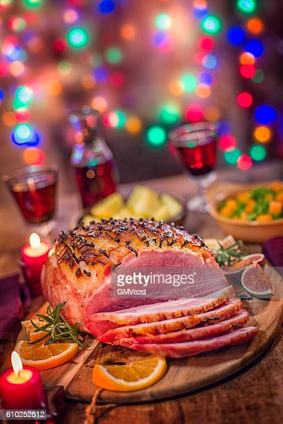 Glazed Holiday Ham with Cloves Served for Dinner