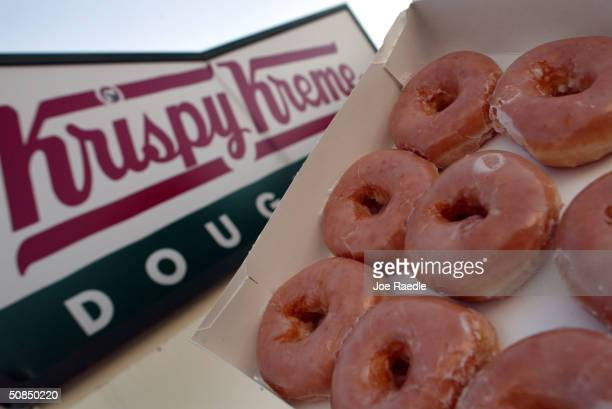 Glazed Krispy Kreme doughnuts are seen May 17, 2004 in Miami, Florida. Krispy Kreme Doughnuts Inc. Last week said that the low-carb diet trend has...