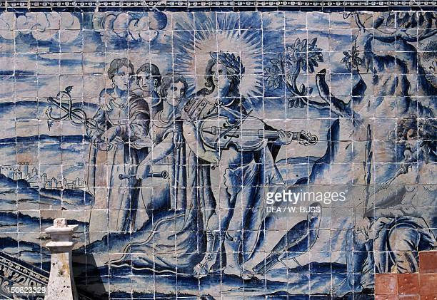 Glazed tiles in the Palace of the Marquesses of Fronteira Portugal 17th century
