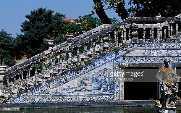 Glazed tiles on the flight of steps in the garden of the Palace of the Marquesses of Fronteira Portugal 17th century