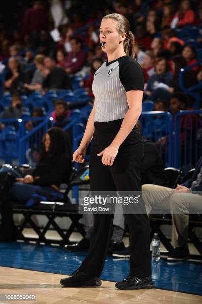 League Referee Dannica Mosher looks on during an NBA GLeague game between the Westchester Knicks and the Delaware Blue Coats at the Bob Carpenter...
